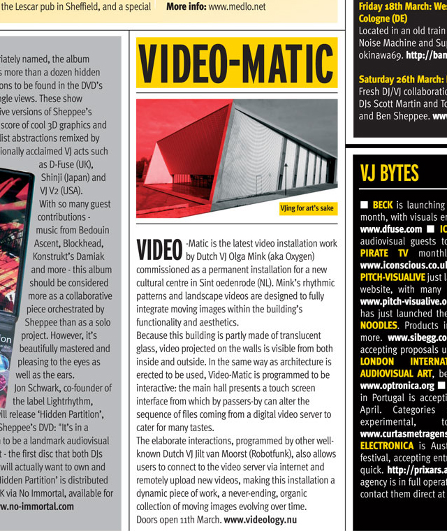 Article about Video-Matic in DJ Magazine (UK) 2003